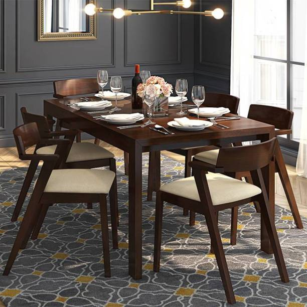 Urban Ladder Vanalen Extendable Glass Top Glass 6 Seater Dining Table