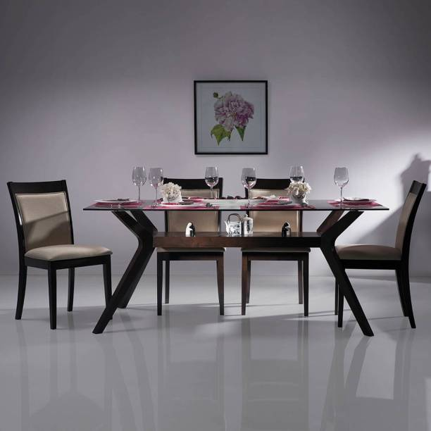 Urban Ladder Wesley Glass Top Solid Wood 6 Seater Dining Table