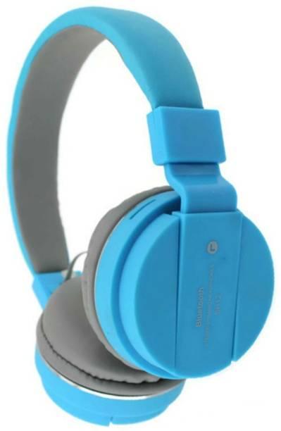 blue seed SH 12 Blue Bluetooth Headphone with SD Card Slot Bluetooth Headset