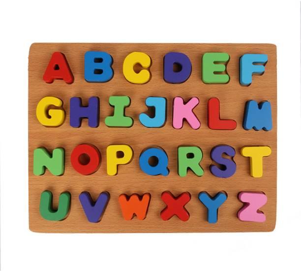 CrazyCrafts Wooden Alphabet (Capital Letters) Puzzles Toys for Children
