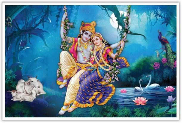 Religious Radha Krishna Paper Poster Paper Print