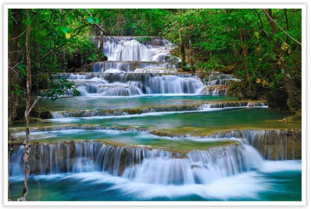 Beautiful Waterfall In Forest Paper Poster Paper Print