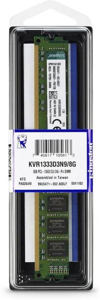 KINGSTON DDR3 1333Mhz Desktop PC DDR3 8 GB (Dual Channel) PC (KVR1333D3N9/8G, 2Rx8 PC3-10600 CL9 240-Pin uDIMM)