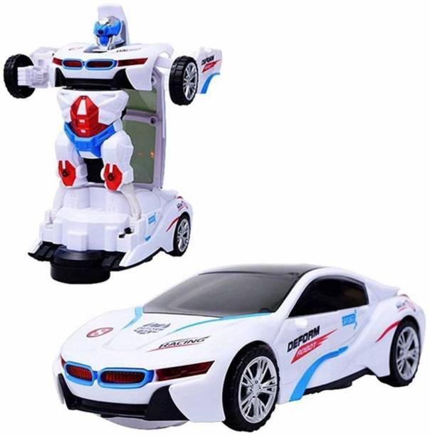 BACKGAMMON High Quality Transformer Robot Car Converting to Super Car for kids, Automatic Convert from Car to Robot (White)