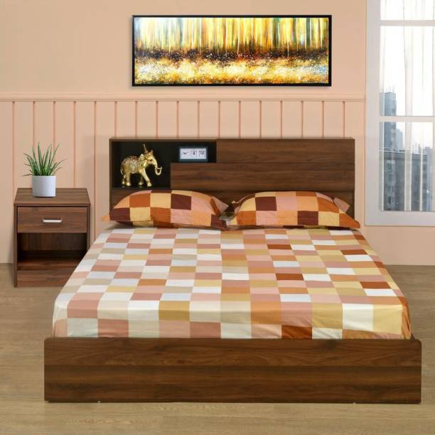 @home by Nilkamal Engineered Wood Bed + Side Table