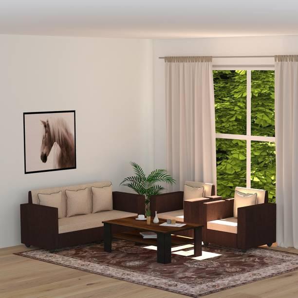 Bharat Lifestyle Tulip Fabric 3 + 1 + 1 brown Coffee Table & Cream Brown Sofa Set