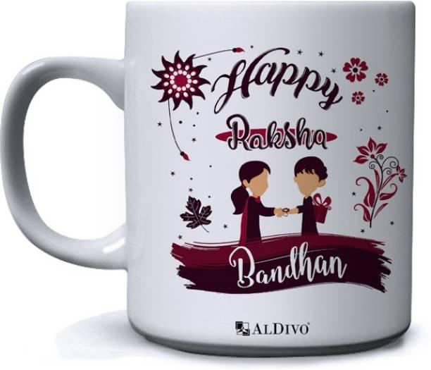 alDivo Gift Happy Raksha Bandhan Printed Ceramic Coffee Mug