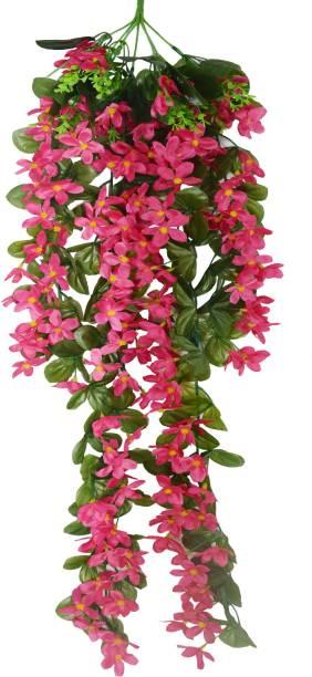 FOURWALLS Artificial Hanging Butterfly Orchid Flower Bush (100 cm Tall, Dark/Pink) Pink Orchids Artificial Flower