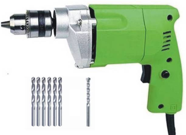 BUILDSKILL 10MM Professional Powerful Heavy Drill Machine with 7 High Quality Bits BED1100-Greenbits Pistol Grip Drill