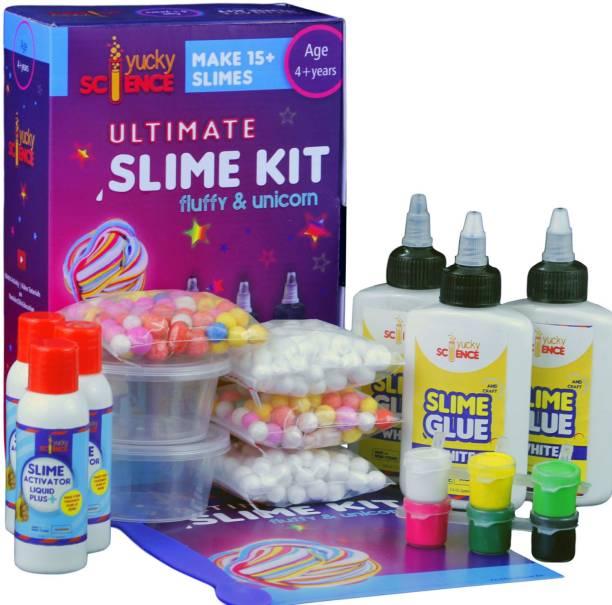 yucky science Ultimate Slime Making Kit for Kids Fluffy and Unicorn .Make 15+ Slimes.