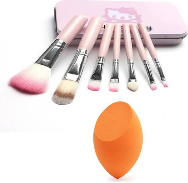BELLA HARARO Authentic 7pcs Professional Pink brush set and Sponge (Combo of 2)