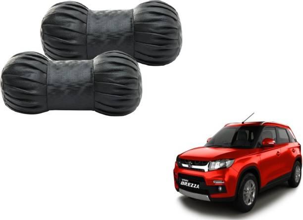 Autyle Black Cotton, Leatherite Car Pillow Cushion for Maruti Suzuki