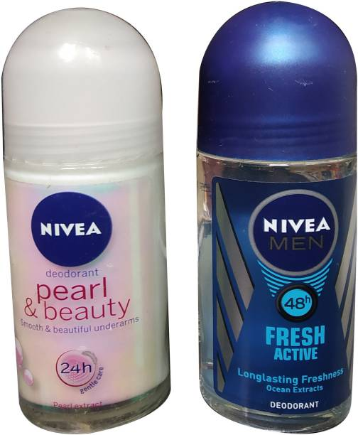 NIVEA 1 PEARL & BEAUTY 1 FRESH ACTIVE (PACK OF 2) Deodorant Roll-on  -  For Men & Women