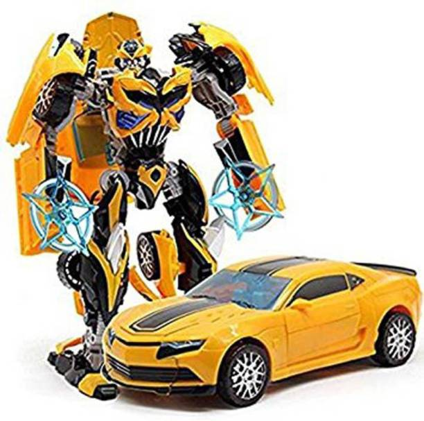 Toyvala Unique Robot Deform Super Speed Car With 3D Special Light (Yellow)