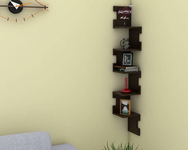 Onlineshoppee Alzak Zig Zag MDF (Medium Density Fiber) Wall Shelf