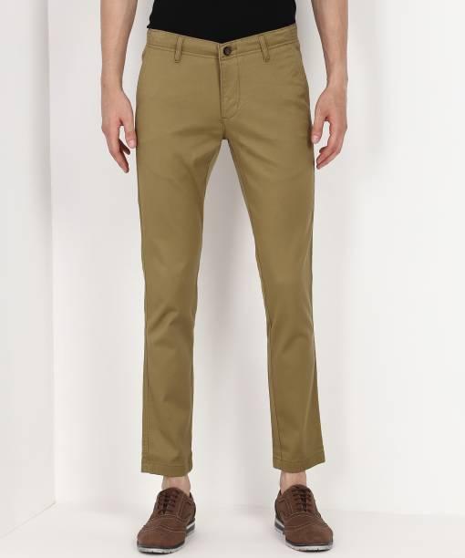 Scullers Slim Fit Men Khaki Trousers