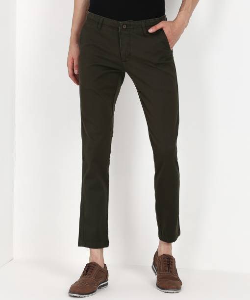 Scullers Slim Fit Men Green Trousers