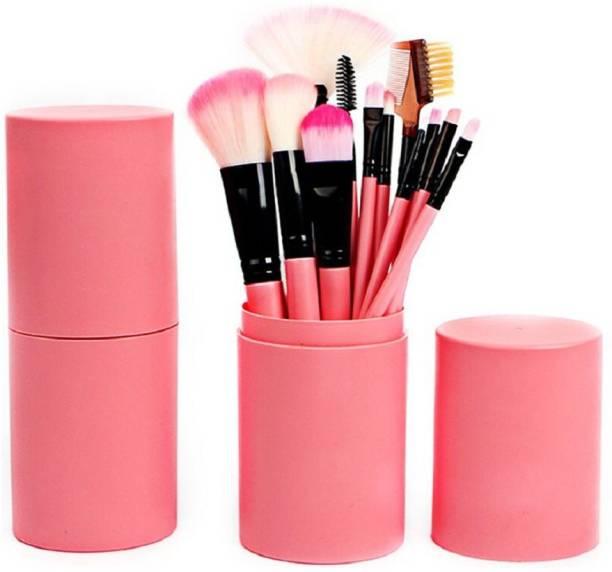 Yoana Professional Series Makeup Brush Set With Storage Barrel - Pink