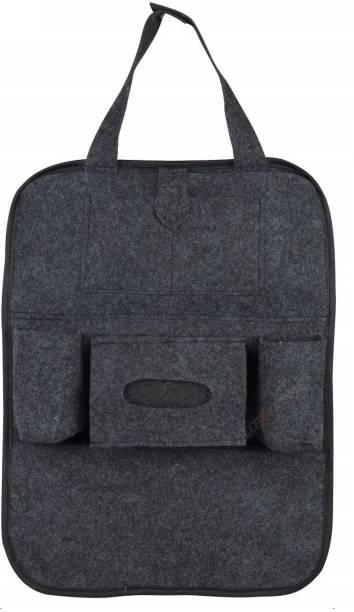 AllExtreme EXFBSTC Fibrous Car Auto Seat Back Multi Pocket Organizer Universal Backseat Travel Bag for Mobile, Magazines, Tissue Box, Bottles Storage Car Storage Bag