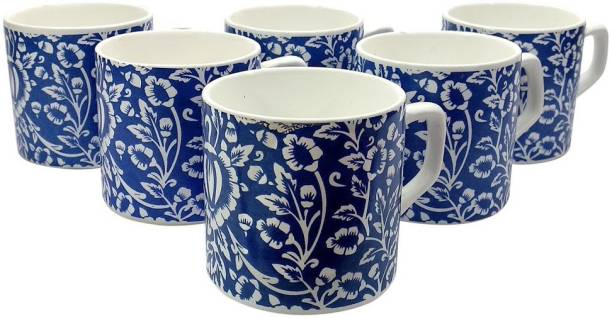 FARKRAFT Pack of 6 Ceramic Tea/Coffee Cups Set of 6 BLUE