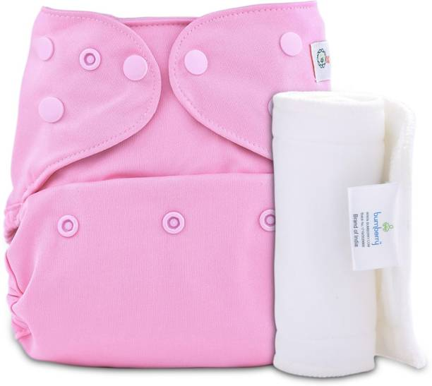 bumberry Adjustable Pink Reusable Cloth Diaper Cover With 1 Wet Free Insert For Babies (3-36 Months)