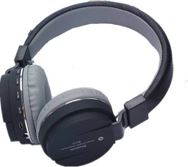 blue seed SH 12 Bluetooth Headset with Mic (Black, Over the Ear) Bluetooth Headset