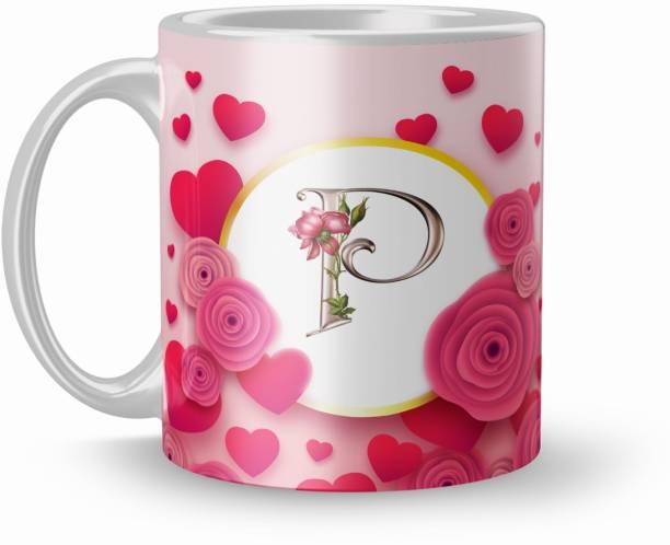 Dreamcart Letter P Alphabet Gift For Boyfriend Love 320Ml Multicolor (Mug2325) Ceramic Coffee Mug