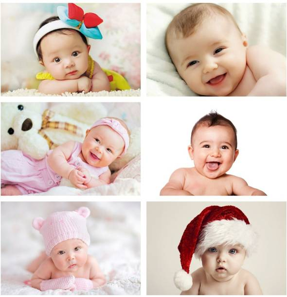 Set of 6 Cute Baby Combo Posters | Smiling Baby Poster | Poster for Pregnant Women | HD Baby Wall Poster for Room decor (12x18-Inch, 300GSM Thick Paper, Gloss Laminated) Paper Print