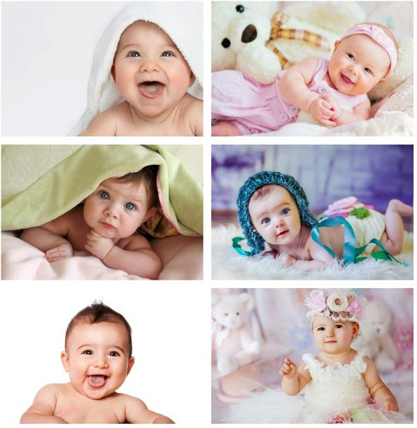 Set of 6 Cute Baby Combo Posters | Smiling Baby Poster | Poster for Pregnant Women | HD Baby Wall Poster for Room decor (12x18-Inch, 300GSM Thick Paper, Gloss Laminated) Photographic Paper
