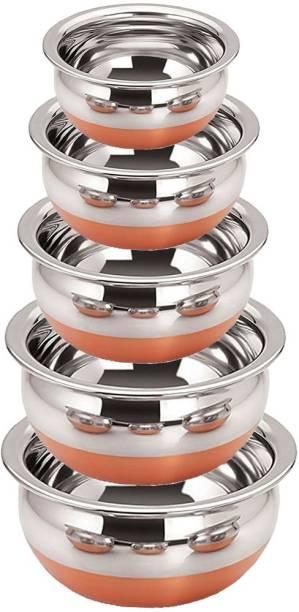 """Neera Copper Bottom 5 Pcs Handi Set - 5 Liter -""""Serving & Cookware Stainless Steel"""" Handi 0.5 L, 0.8 L, 1.2 L, 1.9 L, 2.5 L"""