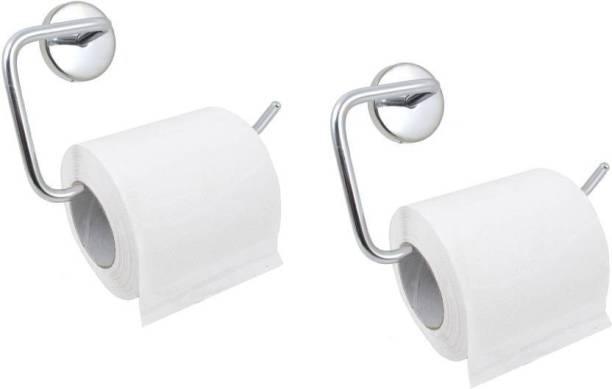 Rishikansh TOILET PAPER HOLDER CUM TOWEL HOLDER. PACK OF 2 Stainless Steel Toilet Paper Holder