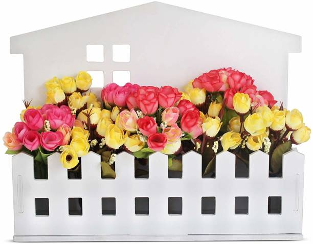TIED RIBBONS Artificial Flower with Wooden Planter for Home Decor White Rose Artificial Flower  with Pot