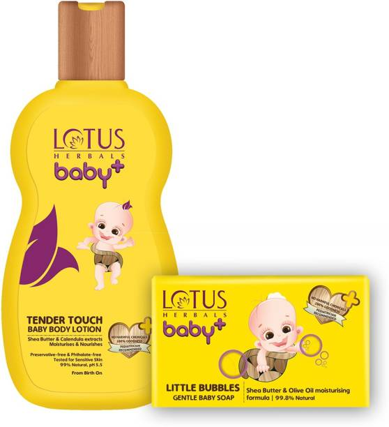 LOTUS HERBALS Baby+ Tender Touch Baby Body Lotion 200 ml & Little Bubbles Gentle Baby Soap 75gms