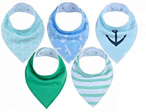 Fok 5 Pc Cotton Soft Double Layer Adjustable Feeding Baby Bib