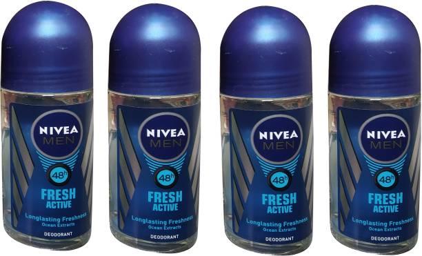 NIVEA FRESH ACTIVE (PACK OF 4) Deodorant Roll-on  -  For Men
