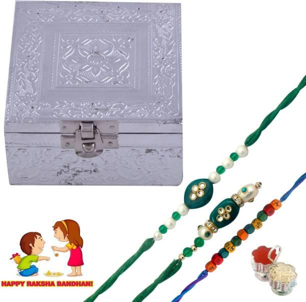 kushalcreation Designer Rakhi, Thali, Chawal Roli Pack  Set