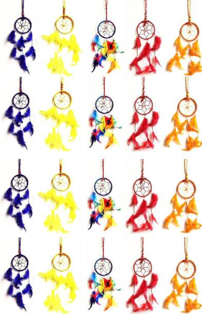 Kraft Village Dream Catcher for Car Hanging Attract Positive Dreams Pack of 20 Wool Dream Catcher