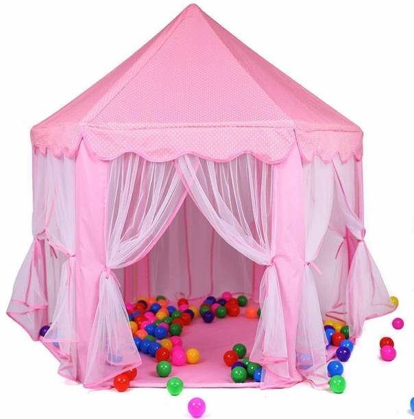 WORZIX Kids Play JUMBO Dream Tent House Jumbo Size / Portable / Light Weight Including Durable and Washable Fabric for Kids Girls and Boys (pink)(ball not included)
