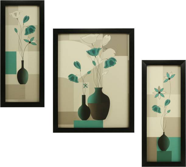 Indianara 3 PC SET OF FLORAL PAINTINGS WITHOUT GLASS 5.2 X 12.5, 9.5 X 12.5, 5.2 X 12.5 INCH Digital Reprint 13 inch x 10 inch Painting