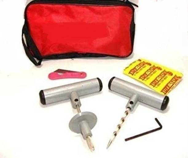 SHOPEE tyre Car & Bike Tubeless Tyre Puncture Repair Kit and 5 Strip Plugs Tubeless Tyre Puncture Repair Kit