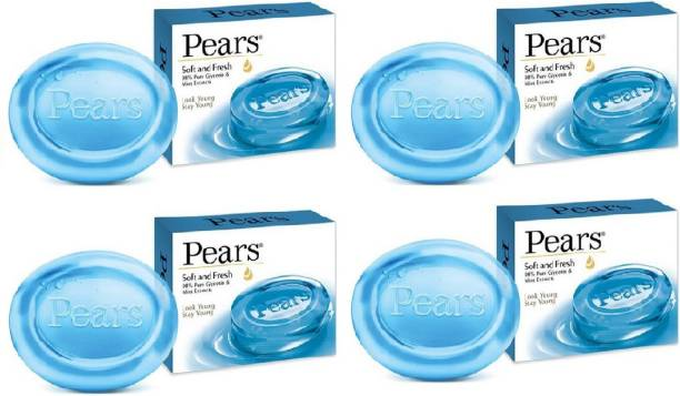 Pears Soft & Fresh Soap Bar : 100 gms (Pack of 4)