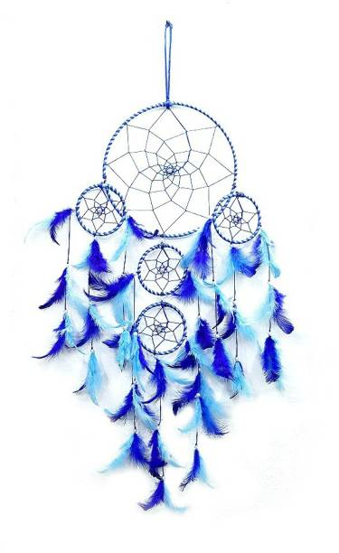 QS SALES QS SALES Dream Catcher, Wall Hangings, Home Decor, Handmade Dreamcatcher For Bedroom, Balcony, Garden, Party, Cafe, Big 5 Ring Beaded Blue Feathers Iron Windchime (76 cm, Blue) Nylon Dream Catcher