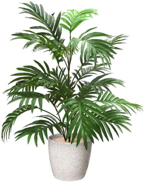 FOURWALLS Artificial Areca Palm without Vase- 75 cm tall, 21 Leaves, Green Artificial Plant