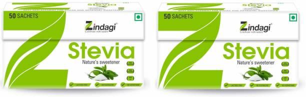 Zindagi Stevia White Powder Sachets - Natural Stevia Sachets - 50Sachet Sugar