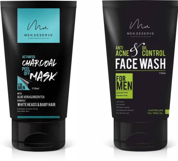 Men Deserve Charcoal Peel Off Mask and Anti Acne and Oil Control Face Wash Combo