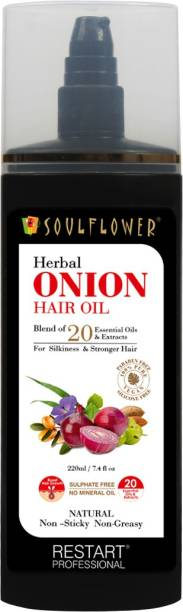 Soulflower Herbal Onion Hair Oil Pure and Natural for Hairgrowth, Premature greying and Hair fall control made with extracts of Amla, Ratajot herb, Onion Oil Hair Oil