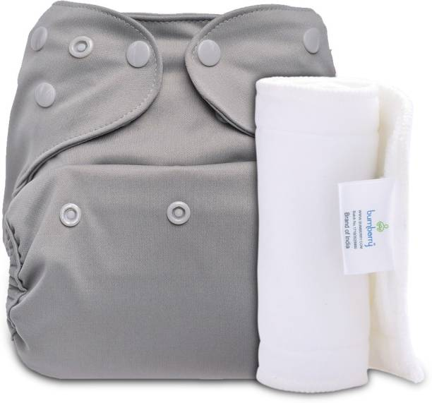 bumberry Adjustable Grey Reusable Cloth Diaper Cover With 1 Wet Free Inserts For Babies (3-36 Months)