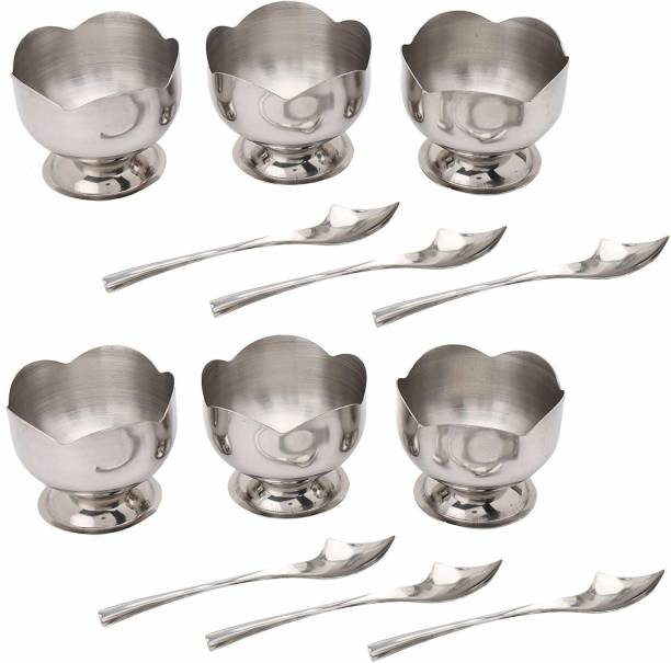 Zahuu Flower Shape Ice Cream Cup Set with Spoon Bowl Spoon Serving Set