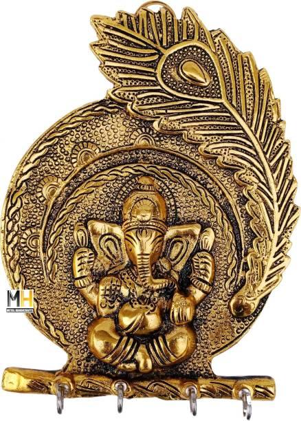 Chhariya Crafts Metal Ganesh Key Holder Wall Hanging For Home Decor Decorative Showpiece  -  20 cm