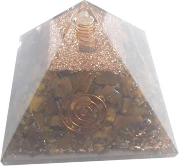 Jewelswonder 100 % Original & Natural Tiger Eye Orgone Pyramid Decorative Showpiece  -  7 cm